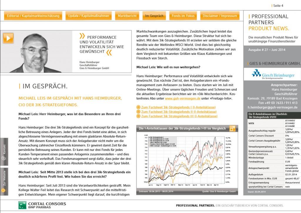 Juni 2014 - CortalConsors Newsletter - Hans Heimburger im Interview über die 3ik-Strategiefonds